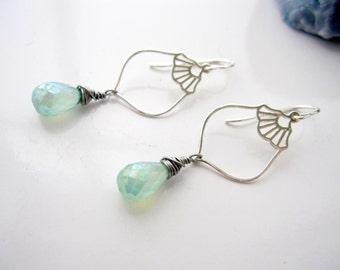 Sterling Silver Earrings, Green Chalcedony, Lantern Earrings, Briolette Earrings, Paraiba Chalcedony, Dangle Earrings