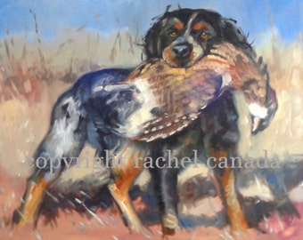French Brittany Dog Art Oil Painting Print