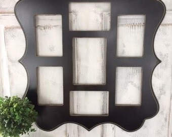 Painted Whimsical Picture Frame Collage with Seven Openings