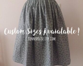 Custom Gray Cotton Skirt | Full Gathered High Waist Skirt | Knee Length Rockabilly Retro Skirt | JW Skirt Modest Womens Clothing