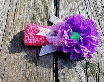 Hair Accessory, Girls Accessory, Girls Headband, Photo Prop, Spring Flower, Purple Flower Headband, Flower Headband, Easter Headband