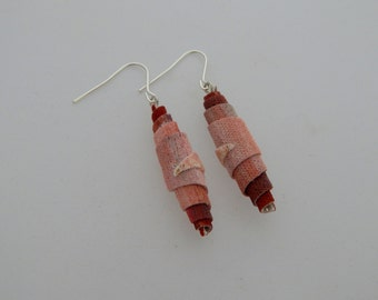 Grandiflora Earrings - Handpainted Textile - One of a kind - Featured in Jewelry Affaire Magazine