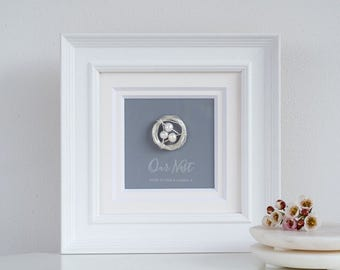 Our Nest Frame, Personalized Silver Nest with Pearl Eggs in Frame, White wooden frame with nest (OHSO572)