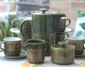 Vintage Retro Ceramic Made in Japan Coffee Pot Set  Green Glaze  with Tulip Pattern