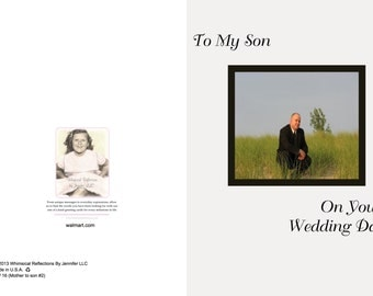 Wedding To my son on his wedding day #2  card, Mother To Son wedding, Wedding Card, Greeting card, Mother and Son, Special Occasion, General