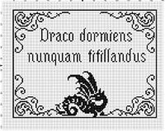 Never Tickle a Sleeping Dragon Hogwarts Latin Motto - Harry Potter Cross Stitch Pattern - Instant Download