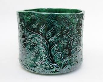 Large Ceramic Planter forest green, Hand built Unique plant pot, deep green, pottery flower pot, plant pot, geen vase