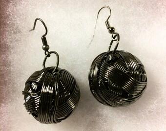 Copper wire ball earrings