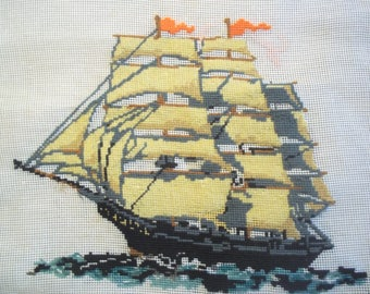 Needlepoint Sailing Ship to be Completed - Canvas Only