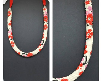 """Necklace """"Cherry blossoms"""". Crochet beads"""