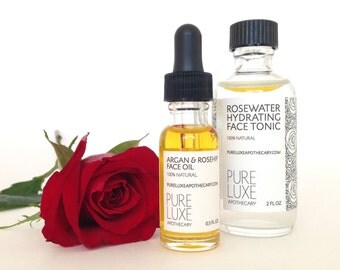 Rose Hydration Gift Set, Natural Skincare, Argan & Rosehip Face Oil, Rosewater Hydrating Face Tonic, Daily Moisturizer, Toner