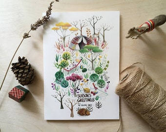 Instant Download | Printable Christmas Card | The Seasonal Forest | Watercolor Woodland Scenery
