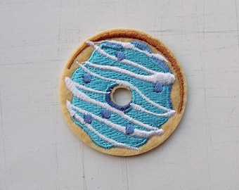 4.7cm, Light Blue Donuts Iron On Patch (P-488)