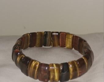 Vintage Handmade Genuine Tigers Eye Stone Stretch Bracelet