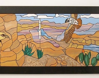 Southwest, Wood Wall Decor, Hawk Wall Art, Canyon Lands