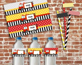 Fire Engine Party, Fire Truck Party Printables, Fireman Party, Fireman Party decor, Boys Party, Fire Engine, Instant Download, Editable