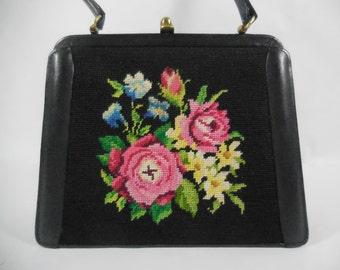 French Vintage black handbag bag 1950's Vintage. Black leather with needlepoint pattern.