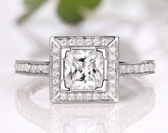 5.5MM Princess Cut Diamond Halo Semi Mount Ring / Engagement Ring