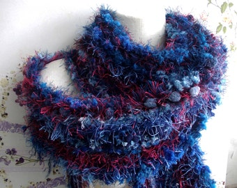 Deep Blue and Red hand knitted scarf, Textured rustic shawl, Winter fashion, Colorful cozy neck warmer, Boho, Perfect gift for her.