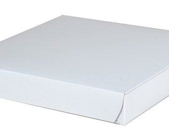 50 Bakery Paperboard White Box 10 x 10 x 1.5 Pizza Cookie Pastry Box
