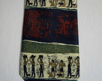 Ancient Egyptian hand made neck tie by Rene Chagal men's vintage novelty neck tie