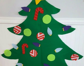 Felt Christmas tree your child can decorate over and over