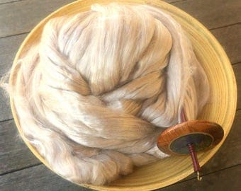 Baby Camel Tussah Silk 50/50 Blend Roving Top Spinning Fiber - 4 ounces
