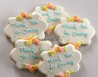 Thank you cookies , Party Favors ,Baptism favors ,Wedding favors ,First communion favors ,Decorated sugar cookies, Bridal favors