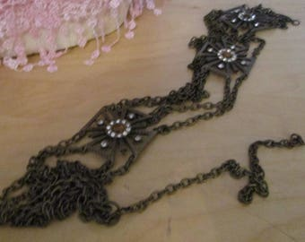 """vintage brass tone chain belt lobster clasp max 39"""" down front three crosses with stone,clear stones"""
