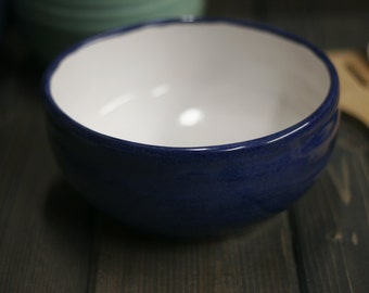 Handmade Mixing Bowl, Blue Base color, White inside, Blue glaze that goes from shiny blue to a mat blue