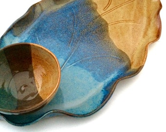 Large pottery platter with bowl, leaf platter, chip and dip platter, fruit tray, cheese and crackers tray