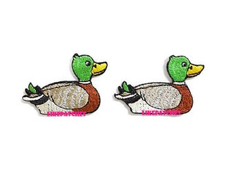 Duck Iron On Patch Cute Patches Set 2pcs. Mallard Duck New Sew / Iron On Patches Embroidered Patch Iron On Appliques Size 4.8cm.x3.2cm.