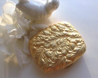 Estee Lauder Mirror Compact Repousse Leaves Acorns Monogramed Pouch Gold Collectible Vanity  Mirror Powder Purse Wedding Budoir Prom Bride
