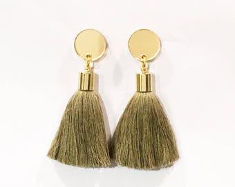 Olive green tassel earrings. Gold mirror acrylic laser cut earrings with olive green tassels