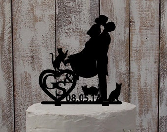 Wedding Cake Topper Cats/Kitty/Initials - Cake Topper