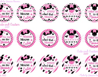 Minnie Mouse Inspired Bottle Cap Images- INSTANT DOWNLOAD- Take Me To The Mouse- Minnie- Inspired By- Big On The Mouse-  Pink Minnie- BCIs