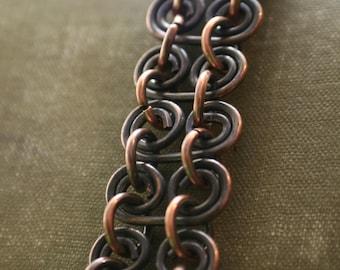 Antique Chain Bracelet, Antique Copper Link Bracelet, Chain Bracelet, Copper Bike Chain Bracelet, Antique Copper Bike Chain Bracelet (#1494)