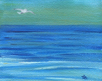 """Soaring, Seascape, 4""""x4"""" Stretched Canvas Block, Acrylic Painting, Original Artwork"""