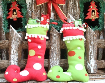 SALE! Personalized  Elf Stockings Red Green christmas socking Holiday Stocking Christmas Decor Personalized Christmas Sock Santa Sock