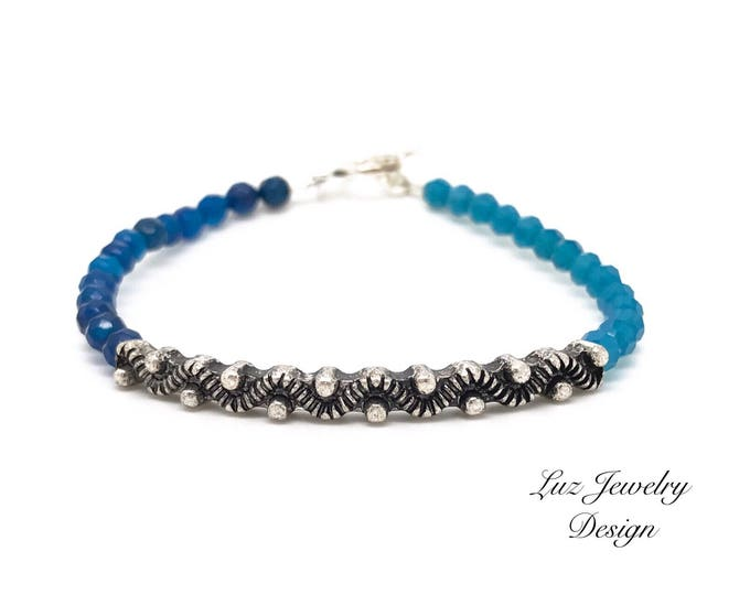 Mediterranean blue bracelet, dark blue bracelet, light blue bracelet, unique bracelet, two tones of blue bracelet