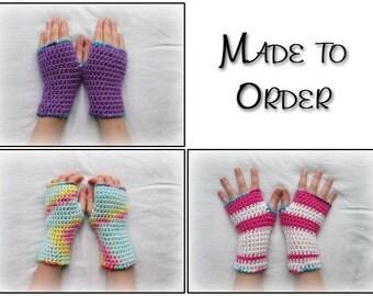 Custom kids armwarmers, child wrist warmers, kids fingerless gloves, girls fingerless gloves, boys fingerless gloves, made to order mittens