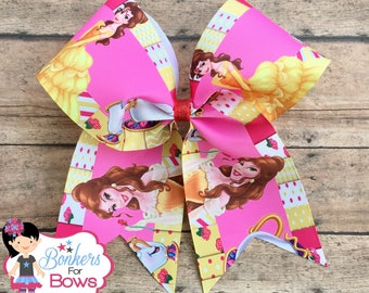 beauty and the beast cheer bow, beauty and the beast bow, beauty and the beast hair bow, Belle hair bow, Belle cheer bow