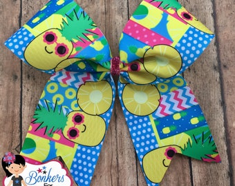 Pineapple cheer bow, summer cheer bow, pinapple hair bow