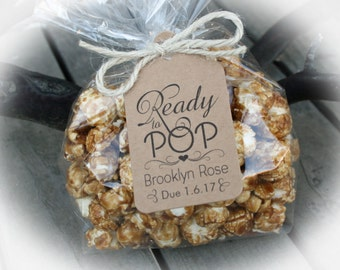 Ready to Pop Baby Shower Favor Kits-3 TAG COLORS | Popcorn favor-25-100 DIY Bags/Favor Tags w/Ribbon or twine | Baby shower Favors-Bag szLge