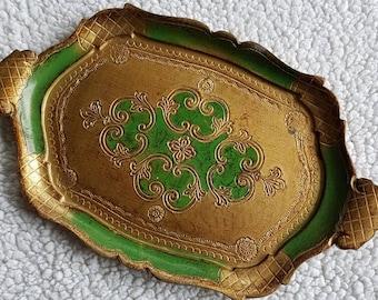 Vintage tray decoration. Brocante antique. Trademark or italy