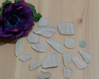 Clear and Light Blue Authentic Sea Glass Set of 16 Pieces with Stripes Beach Glass Set 8