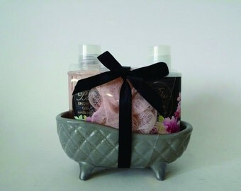 3pc Grey Ceramic Tub Giftset