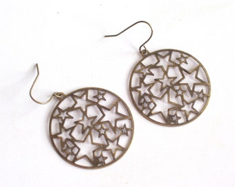 Star Earrings, Antiqued Brass Star Earrings, Bronze Cutout Stars Pierced Dangle Earrings, Celestial Jewelry, Large Dangle Earrings