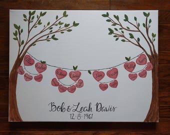 Custom Family Tree Wall Art, Hearts, Acrylic Painting on Canvas