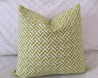 DECORATIVE PILLOW-Lime Green Geometric Pattern - 18 x 18